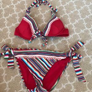 Lucky 2 piece bikini s/p red multi color